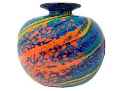 'Storm Ball Vase' original hand-blown blue glass vase signed by Ioan Nemtoi
