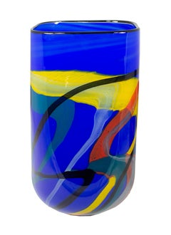 'Blue Sea Square Vase' original blue hand-blown glass vase signed by Ioan Nemtoi