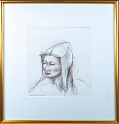"Original sketch for ""The Garden"" signed by Karin Krohne Kaufman, portrait, woman"