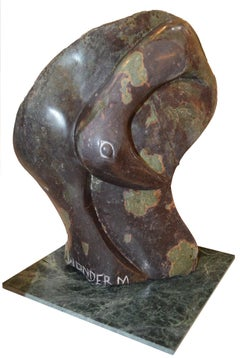 'Cobalt Bird' original signed Shona stone sculpture by Wonder Mazhindu Bumhira