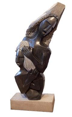 'Nursing a Firstborn' Shona stone sculpture signed by Munyaradzi Mukungurutse