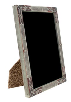 Two Romanian Handmade Photo Frames, 12K White Gold Leaf & Wood 5x7/4x6 inches