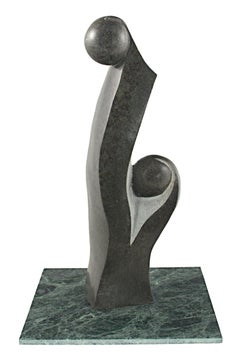 'Mother and Child' original springstone sculpture signed by Nelson Mutumbuki