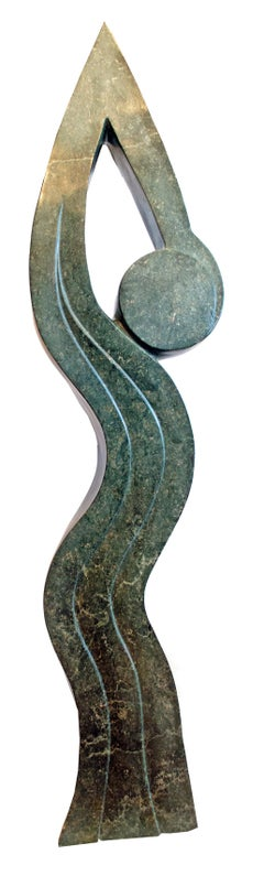 'Stretching' original opal serpentine Shona sculpture signed by Canaan Ngandu