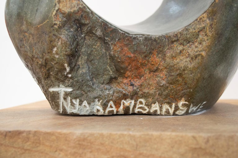 'Sharing One Heart' original opal serpentine sculpture by Tichona Nyakambangwe For Sale 4