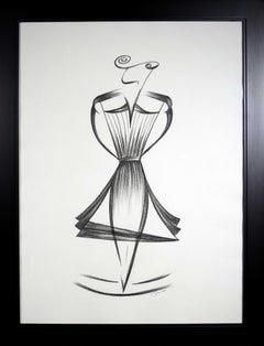 '1950s French Female Fashion Rendition' original drawing by Jorge Ruiz-Martinez