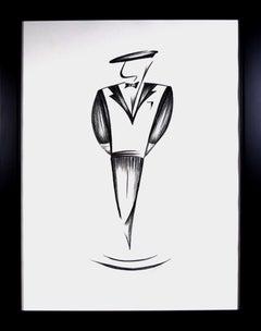 '1950s French Male Fashion Rendition' original drawing by Jorge Ruiz-Martinez