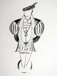 'Male 1540s Fashion Rendition' original drawing by Jorge Ruiz-Martinez