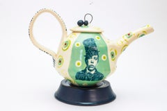 Lithograph printed Teapot with Stand