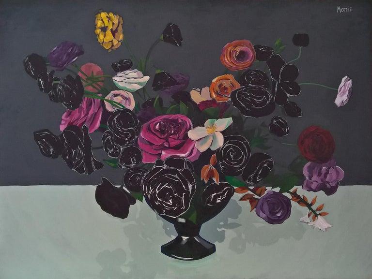 Flowers in Black - Painting by Kevin Morris