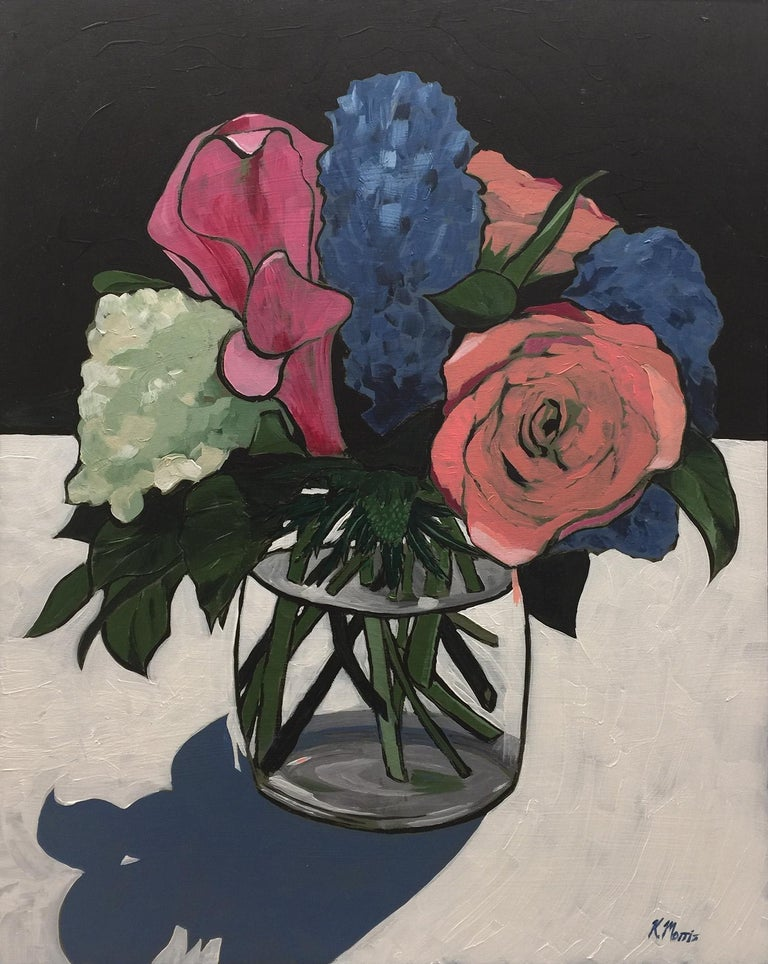 Flowers on Black - Painting by Kevin Morris