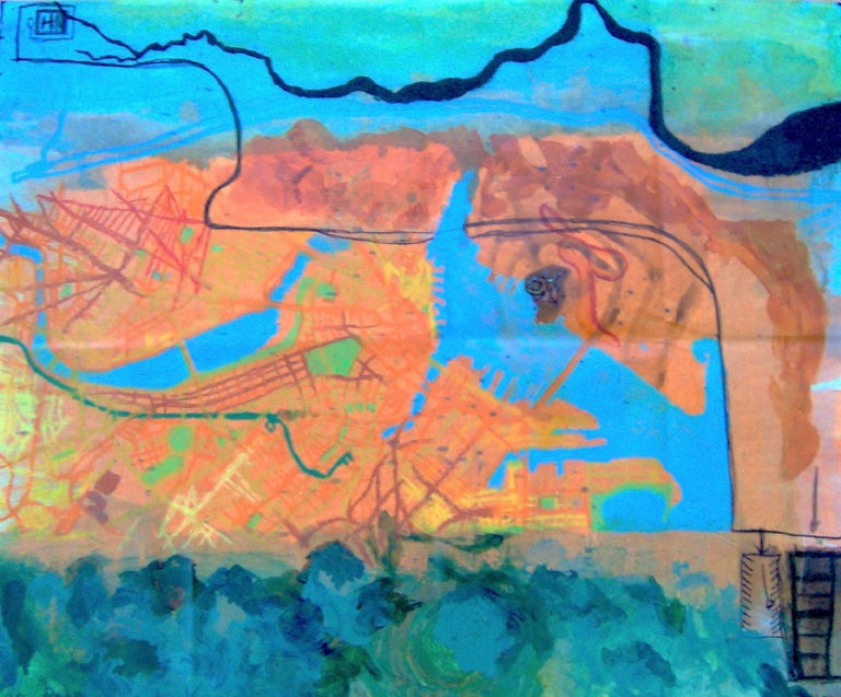 Map from Home to Kaz's Gallery - Mixed Media Art by Kory Twaddle