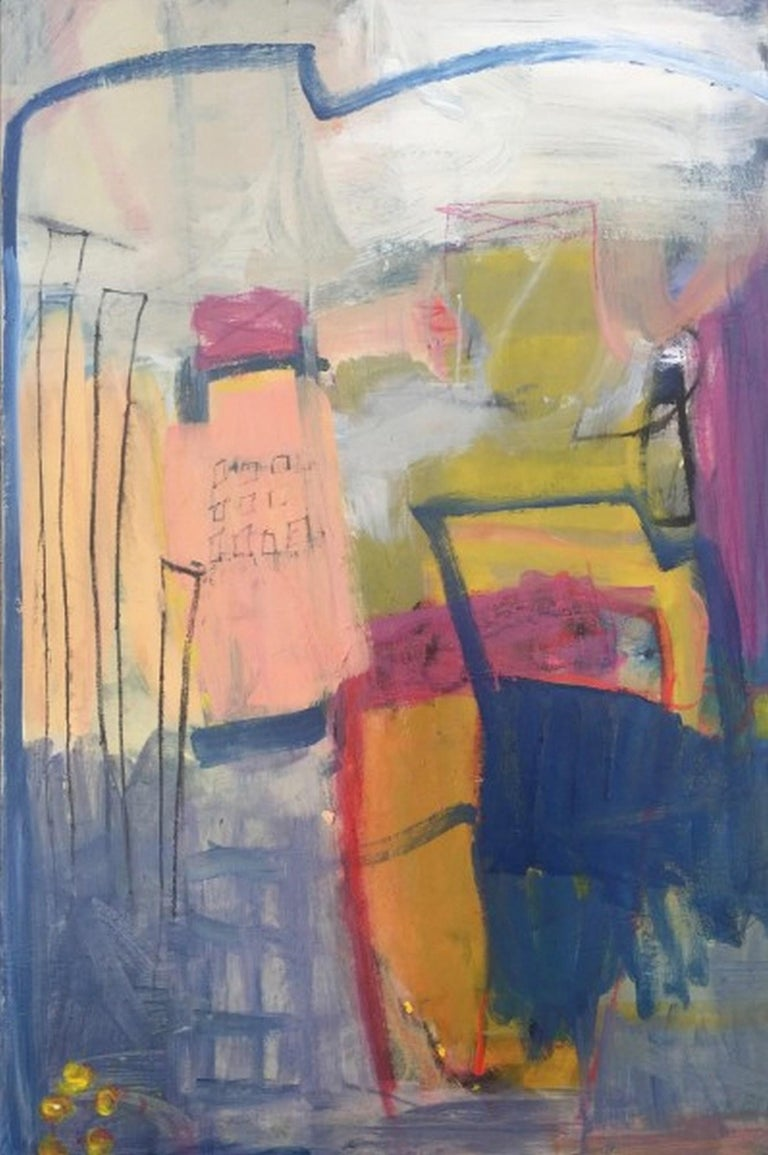 """Artist : Katherine Bello Title : In Between Materials : acrylic, mixed media on canvas Date : 2019 Dimensions : 36""""x24""""x1.5"""" inches   Katherine Bello's aim as an artist is to capture a sense of place, a moment of time, or a feeling -  to evoke a"""