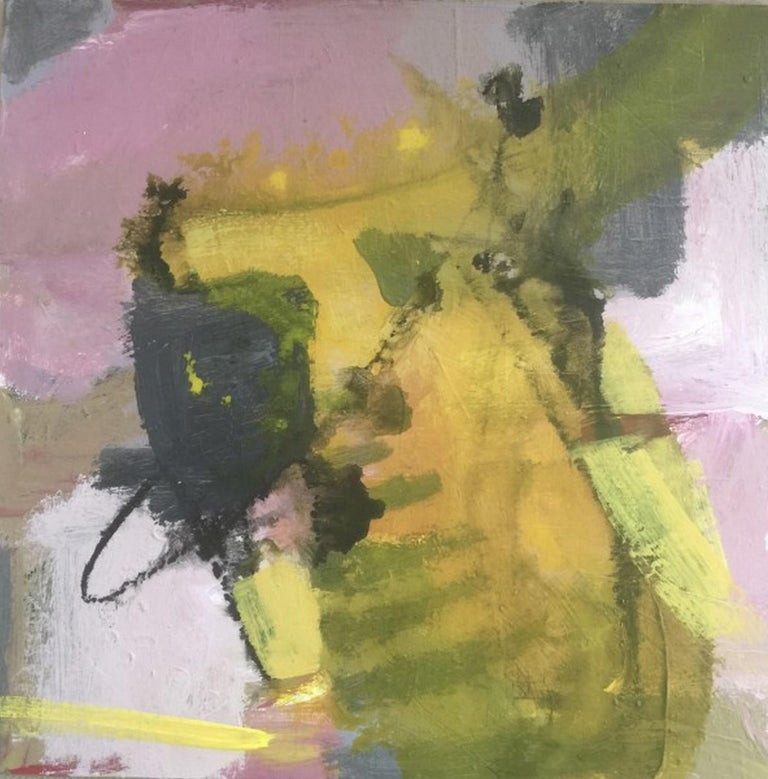 """Artist : Katherine Bello Title : Summer Rain Materials : acrylic, mixed media on canvas Date : 2018 Dimensions : 12""""x12""""x.25"""" inches   Katherine Bello's aim as an artist is to capture a sense of place, a moment of time, or a feeling -  to evoke a"""