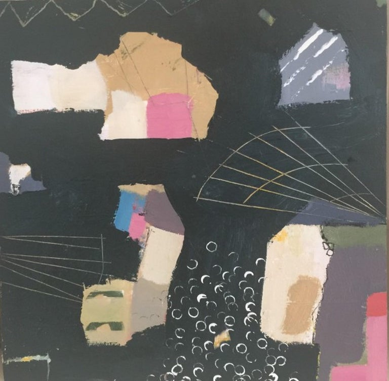 """Artist : Katherine Bello Title : Really Lost in Space Materials : acrylic, mixed media on canvas Date : 2018 Dimensions : 12""""x12""""x.25"""" inches   Katherine Bello's aim as an artist is to capture a sense of place, a moment of time, or a feeling -  to"""