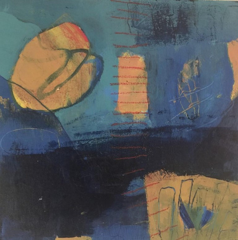 """Artist : Katherine Bello Title : Playtime Materials : acrylic, mixed media on canvas Date : 2018 Dimensions : 12""""x12""""x.25"""" inches   Katherine Bello's aim as an artist is to capture a sense of place, a moment of time, or a feeling -  to evoke a sense"""