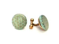 Cufflinks Mint Gold Geometric Pattern Porcelain Jewelry for Men Brass handmade