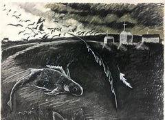 FISH OUT OF WATER (Charcoal Drawing - black, beige, grey)