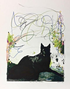 HOW MY DOG THINKS (Gum Arabic print - green, black, blue, lilac)