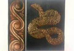 MY FEMININE SIDE (Gum Arabic print - gold, brown, black, red)