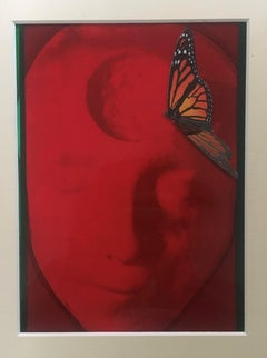 RED BUTTERFLY (Gum Arabic print - red, black, orange)