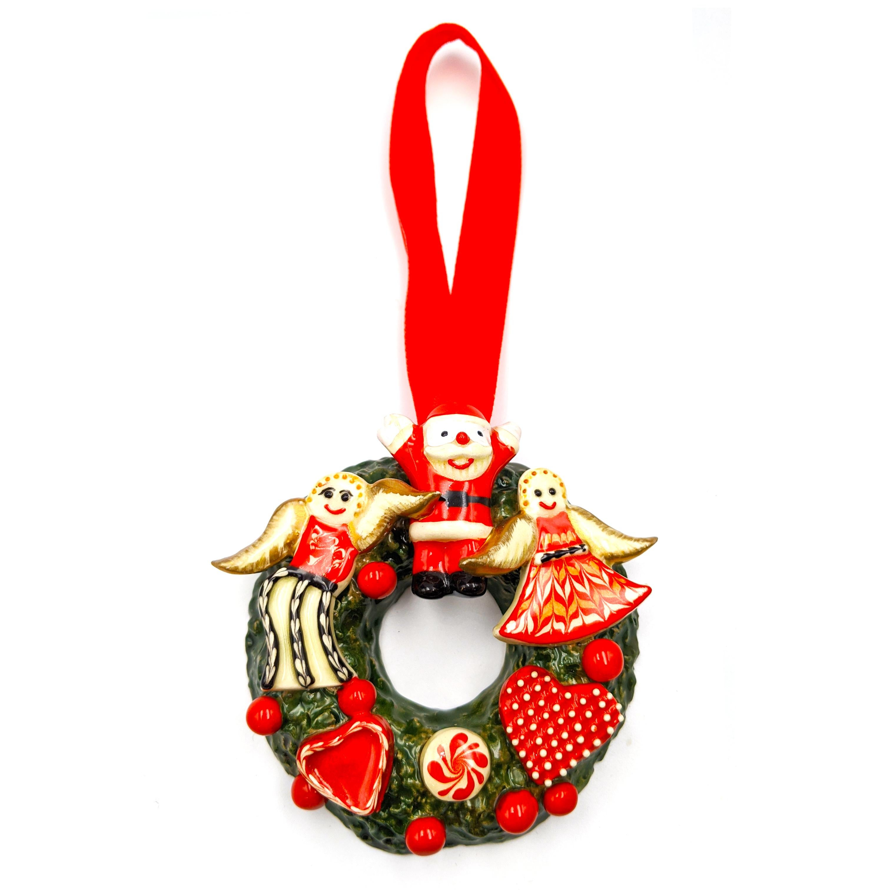 Christmas Wreath with Angels, Hearts and Peppermint Candy