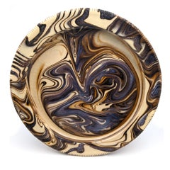 Marbled Plate I (Feathering, English slipware, 17th century style of pottery)
