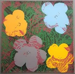 Flowers (Yellow, Grey, Blue Hues - Pop Art)