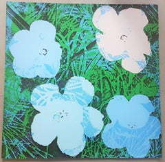 Flowers (Blue and Grey Hues - Pop Art)