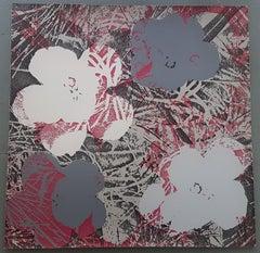 Flowers (Grey and Dark Red Hues - Pop Art)