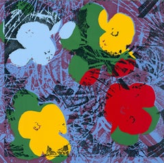 Flowers (Blue, Yellow, Red Hues - Pop Art)