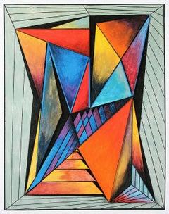Geometric Composition #4 (3D-construction, Op Art, Lyonel Feininger)