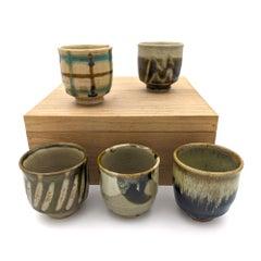 Set of Yunomi Tea Cups (Japanese Mashiko Pottery, Bernard Leach)