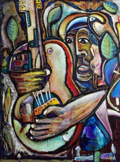AMAZON GUITARIST- Figurative Painting, vertical oil on canvas