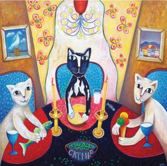 CATNIP, oil on canvas, cats multi color painting, square