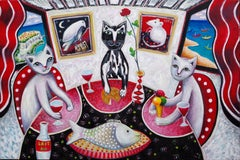 MONACO CATS- White & Red Painting oil on canvas