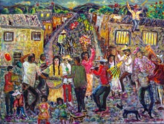 VILLAGE PARADE- Colorful Painting Oil on wood