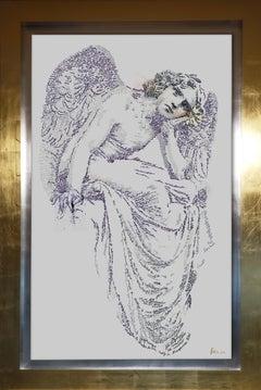 Angelo Sculpture Calligram- text art, gold frame