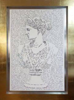 Calligram of Goddess Diana- text art, gold frame