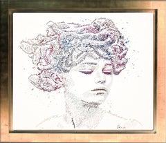 Calligram of Medusa Splashing her pain away- text art, gold frame