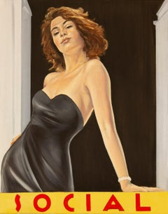 Social Veranda- figurative Painting woman in black with red hair