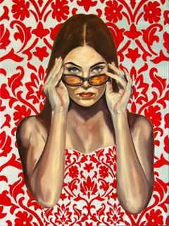 I See Through You- figurative Painting red and white, woman with sunglasses