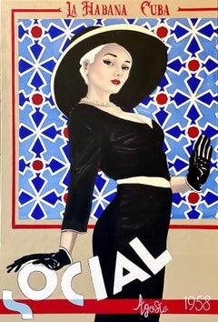 Social Flota- Blue figurative vertical, blonde woman in black