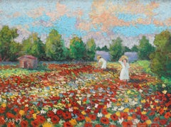 'Women Tending Flowered Field' by Antoine Bogey, Impressionist Painting c. 1960s