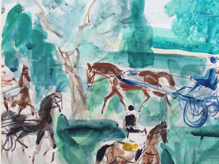 'A Day at the Deauville Racetrack', watercolour on fine paper (circa 1950s), by Pierre Gaillardot (1910 - 2002). Harness racing is an exciting form of horse racing in which the animals run at a specific gait. They usually pull a two-wheeled cart