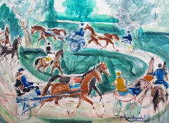 'A Day at the Deauville Racetrack', Mid-Century Horse Racing Watercolor Painting