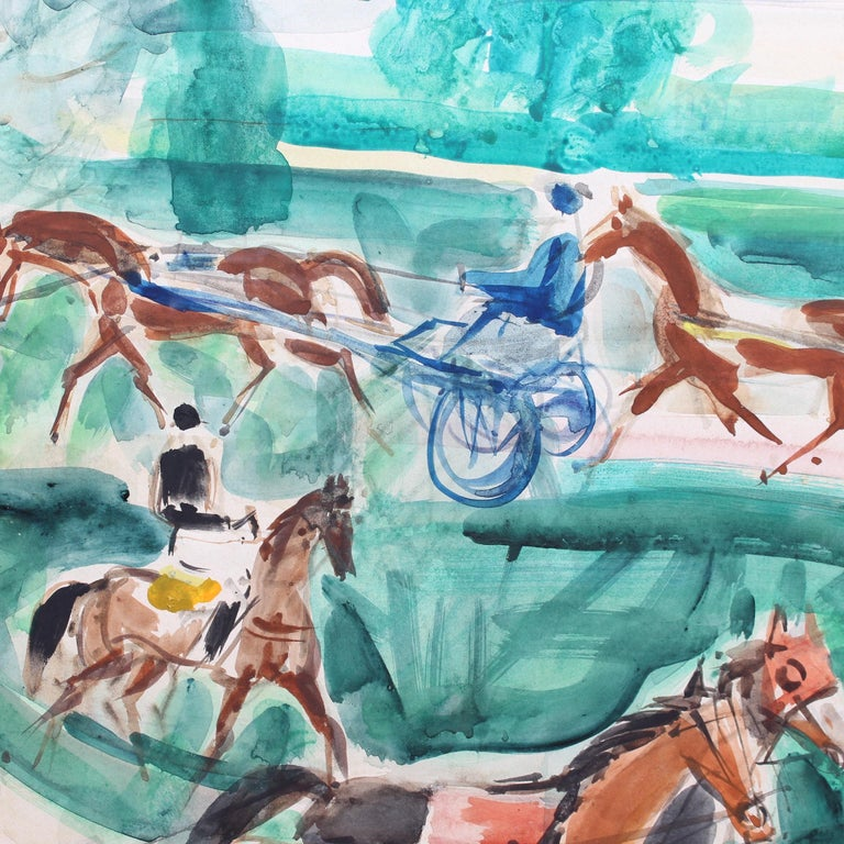 A Day at the Deauville Racetrack - Gray Animal Painting by Pierre Gaillardot