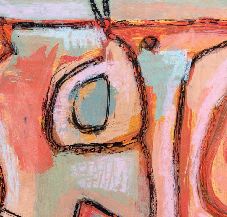 'Untitled' abstract painting, acrylic and wax crayon on fine art paper, (circa 2000), by Yiannis Kadras (b. 1962). A vibrant and colourful abstract composition with pink, coral, greens and blues. It is harmonious in its composition and would enliven