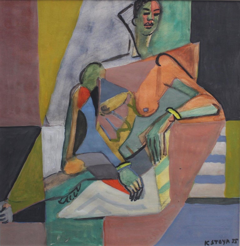 A cubist nude portrait of a seated woman, in gouache on fine art paper (1955), by artist Kosta Stojanovitch. This work is one in a series of four images. Here, an imposing woman lounges comfortably on a modern chair in a pose for the artist wearing