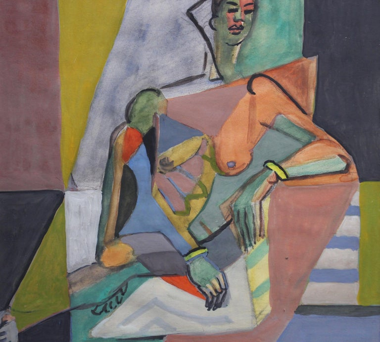 Cubist Nude Portrait of Seated Woman II  For Sale 4
